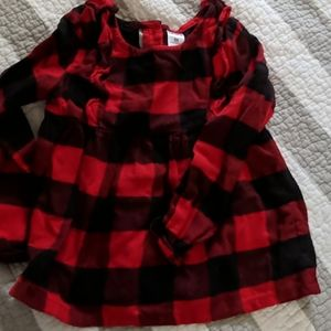 Girls red and black buffalo check top